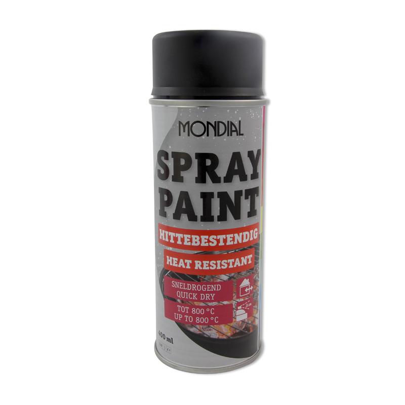 Spuitbus verf Mondial Spray Paint Hittebestendig zwart