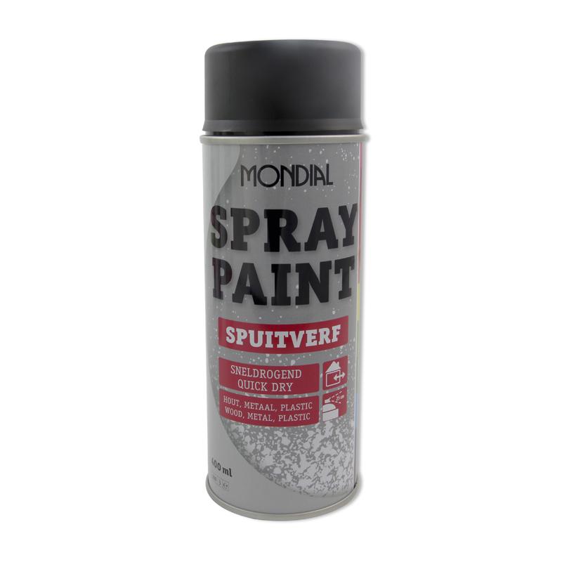 Spuitbus verf Mondial Spray Paint Ral 9005 Zijdeglans